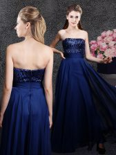 Classical Navy Blue Sleeveless Sequins Floor Length