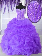 Floor Length Ball Gowns Sleeveless Purple Quinceanera Dress Lace Up