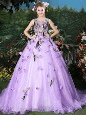 Latest Scoop Lavender Lace Up Quinceanera Gown Appliques Sleeveless Brush Train
