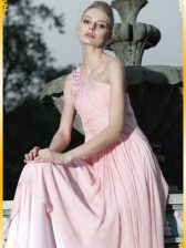Dynamic One Shoulder Baby Pink Chiffon Side Zipper Prom Evening Gown Sleeveless Floor Length Ruching and Hand Made Flower
