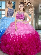 Organza Sleeveless Floor Length 15th Birthday Dress and Beading and Ruffles