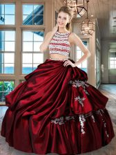 Enchanting Wine Red Two Pieces Taffeta Scoop Sleeveless Beading and Appliques and Pick Ups Floor Length Backless 15 Quinceanera Dress