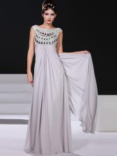 Silver Sleeveless Chiffon Side Zipper Prom Dresses for Prom and Party