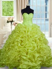 Artistic Sleeveless Sweep Train Lace Up With Train Beading and Pick Ups Sweet 16 Dress