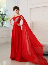 Classical One Shoulder Sleeveless Court Train Beading and Ruching Zipper Prom Gown