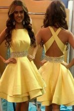 Scoop Yellow A-line Beading Prom Dress Criss Cross Satin Sleeveless Knee Length