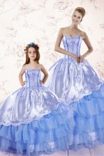 Adorable Sweetheart Sleeveless Ball Gown Prom Dress Floor Length Beading and Ruffled Layers Baby Blue Organza