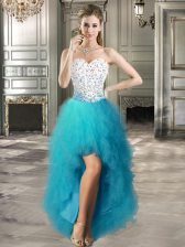 A-line Evening Dress Teal Sweetheart Tulle Sleeveless High Low Lace Up