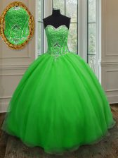 Lovely Organza Sleeveless Floor Length Quinceanera Dress and Beading and Belt