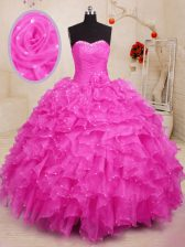 Sleeveless Lace Up Floor Length Beading and Ruffles and Hand Made Flower Sweet 16 Dress