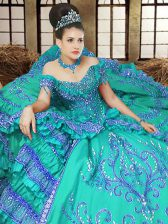 Traditional Off the Shoulder Sleeveless Satin Floor Length Lace Up Vestidos de Quinceanera in Turquoise with Embroidery