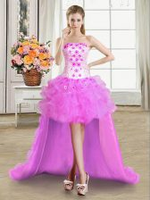Lilac Ball Gowns Strapless Sleeveless Tulle High Low Lace Up Beading and Appliques and Ruffles Prom Dresses