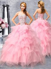 Sweetheart Sleeveless Organza Ball Gown Prom Dress Beading and Ruffles Lace Up