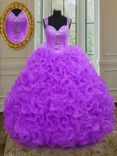 Beauteous Purple Organza Zipper Straps Sleeveless Floor Length Ball Gown Prom Dress Beading and Ruffles