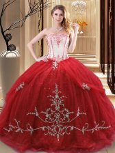 Exceptional Strapless Sleeveless Tulle 15th Birthday Dress Embroidery Lace Up