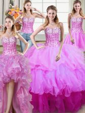 Four Piece Sleeveless Organza Floor Length Lace Up 15 Quinceanera Dress in Multi-color with Ruffles and Sequins