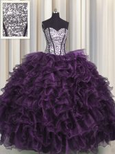 Visible Boning Purple Sleeveless Ruffles and Sequins Floor Length Sweet 16 Dresses