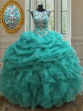 Custom Design Pick Ups See Through Ball Gowns Sweet 16 Dresses Turquoise Scoop Organza Sleeveless Floor Length Lace Up