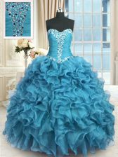 Suitable Organza Sweetheart Sleeveless Lace Up Beading and Ruffles Quinceanera Dresses in Baby Blue