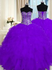 High Quality Eggplant Purple Lace Up Sweetheart Beading and Ruffles Quinceanera Dress Organza Sleeveless