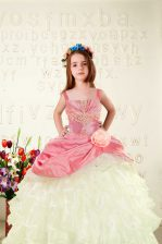 Graceful Pink Straps Lace Up Beading and Ruffled Layers and Hand Made Flower Kids Formal Wear Sleeveless
