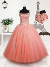 Straps Sleeveless Tulle Floor Length Lace Up Little Girl Pageant Gowns in Peach with Beading