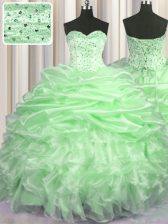 Beauteous Sweetheart Sleeveless Organza 15th Birthday Dress Beading and Ruffles and Pick Ups Brush Train Lace Up