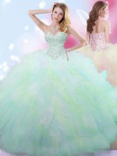 Luxury Multi-color Sleeveless Beading Floor Length Quinceanera Gowns