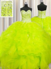 Simple Visible Boning Beaded Bodice Yellow Lace Up Quinceanera Gown Beading and Ruffles Sleeveless Floor Length