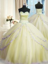 Exquisite Sweetheart Sleeveless Court Train Lace Up Quinceanera Dresses Light Yellow Organza