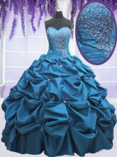 Customized Teal Taffeta Lace Up Sweetheart Sleeveless Floor Length Quince Ball Gowns Beading and Appliques and Pick Ups