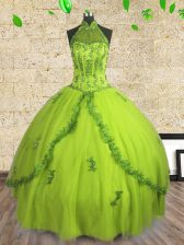 Decent Halter Top Floor Length Ball Gowns Sleeveless Yellow Green Quinceanera Gown Lace Up