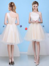 Customized One Shoulder Champagne Tulle Lace Up Court Dresses for Sweet 16 Sleeveless Knee Length Bowknot
