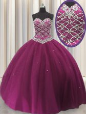 Sleeveless Tulle Floor Length Lace Up 15th Birthday Dress in Fuchsia with Beading and Sequins