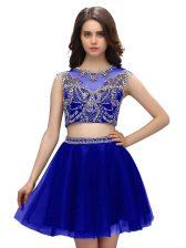 Stunning Blue Scoop Neckline Beading Prom Gown Sleeveless Criss Cross