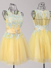New Style Tulle Scoop Sleeveless Zipper Appliques and Bowknot Prom Party Dress in Yellow