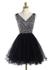 Fashionable Black V-neck Zipper Beading Prom Gown Sleeveless