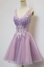 New Style Lavender V-neck Zipper Appliques Prom Gown Sleeveless