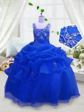 Cute Royal Blue Ball Gowns Beading and Pick Ups Girls Pageant Dresses Zipper Organza Sleeveless Floor Length