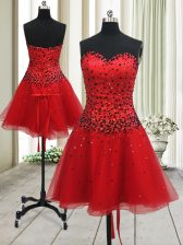 Mini Length Red Prom Dresses Organza Sleeveless Beading