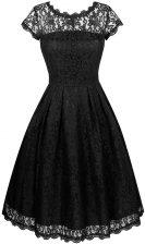 Popular Scalloped Knee Length A-line Short Sleeves Black Homecoming Dress Zipper