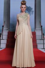Pretty Champagne One Shoulder Neckline Appliques and Ruching Prom Evening Gown Sleeveless Side Zipper