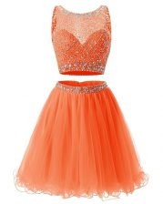 Comfortable A-line Prom Gown Orange Scoop Organza Sleeveless Mini Length Backless