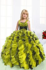 High Class Light Yellow Lace Up Little Girls Pageant Gowns Beading and Ruffles Sleeveless Floor Length