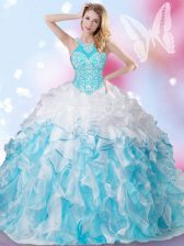 Excellent Blue And White Lace Up Halter Top Beading and Ruffles and Pick Ups 15 Quinceanera Dress Organza Sleeveless