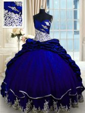Colorful Beading and Appliques and Pick Ups Quinceanera Dresses Royal Blue Lace Up Sleeveless Brush Train