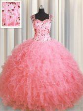 Enchanting See Through Zipper Up Floor Length Pink Quince Ball Gowns Square Sleeveless Zipper