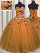 Romantic Rust Red Ball Gowns Tulle Sweetheart Sleeveless Beading and Appliques Floor Length Lace Up Quinceanera Dress