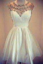Scoop Cap Sleeves Satin Mini Length Zipper Prom Dress in White with Beading