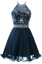 Inexpensive Scoop Beading and Belt Prom Evening Gown Navy Blue Zipper Sleeveless Mini Length